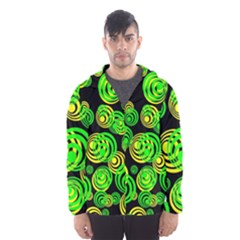 Neon Yellow And Green Circles On Black Hooded Wind Breaker (men)