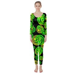 Neon Yellow And Green Circles On Black Long Sleeve Catsuit