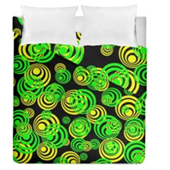 Neon Yellow And Green Circles On Black Duvet Cover Double Side (queen Size)
