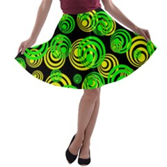 Neon Yellow And Green Circles On Black A Line Skater Skirt