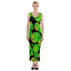 Neon Yellow And Green Circles On Black Fitted Maxi Dress