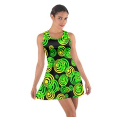 Neon Yellow And Green Circles On Black Cotton Racerback Dress