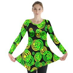 Neon Yellow And Green Circles On Black Long Sleeve Tunic