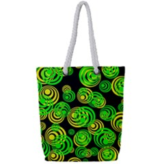 Neon Yellow And Green Circles On Black Full Print Rope Handle Tote (small)