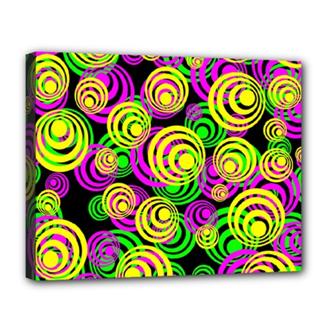 Bright Yellow Pink And Green Neon Circles Canvas 14  X 11