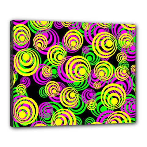 Bright Yellow Pink And Green Neon Circles Canvas 20  X 16