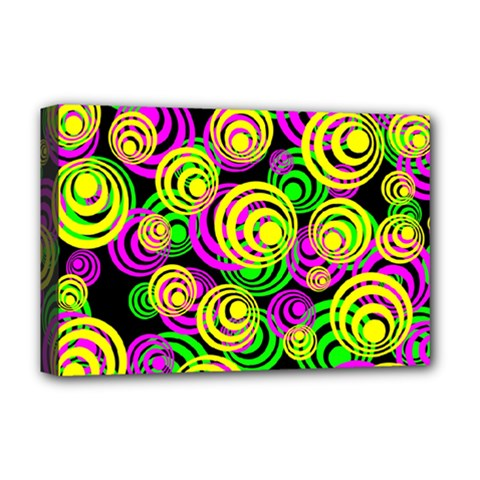 Bright Yellow Pink And Green Neon Circles Deluxe Canvas 18  X 12