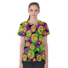 Bright Yellow Pink And Green Neon Circles Women s Cotton Tee