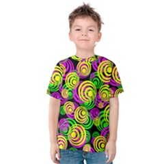Bright Yellow Pink And Green Neon Circles Kids  Cotton Tee