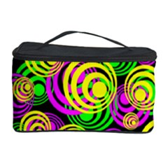 Bright Yellow Pink And Green Neon Circles Cosmetic Storage Case