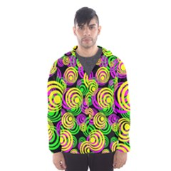 Bright Yellow Pink And Green Neon Circles Hooded Wind Breaker (men)