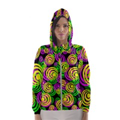 Bright Yellow Pink And Green Neon Circles Hooded Wind Breaker (women)