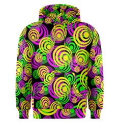 Bright Yellow Pink And Green Neon Circles Men s Pullover Hoodie