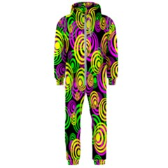 Bright Yellow Pink And Green Neon Circles Hooded Jumpsuit (men)