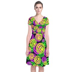 Bright Yellow Pink And Green Neon Circles Short Sleeve Front Wrap Dress