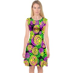Bright Yellow Pink And Green Neon Circles Capsleeve Midi Dress