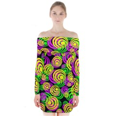 Bright Yellow Pink And Green Neon Circles Long Sleeve Off Shoulder Dress