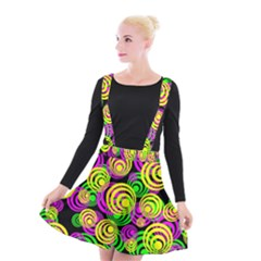 Bright Yellow Pink And Green Neon Circles Suspender Skater Skirt
