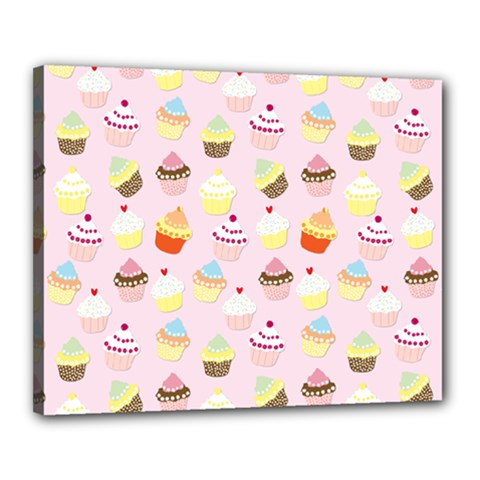 Baby Pink Valentines Cup Cakes Canvas 20  X 16