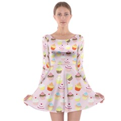 Baby Pink Valentines Cup Cakes Long Sleeve Skater Dress