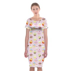Baby Pink Valentines Cup Cakes Classic Short Sleeve Midi Dress
