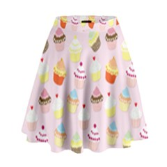 Baby Pink Valentines Cup Cakes High Waist Skirt