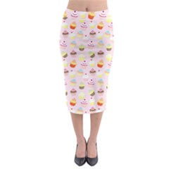 Baby Pink Valentines Cup Cakes Midi Pencil Skirt