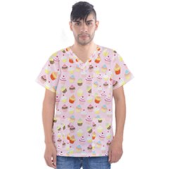 Baby Pink Valentines Cup Cakes Men s V Neck Scrub Top