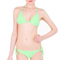Classic Mint Green & White Herringbone Pattern Bikini Set