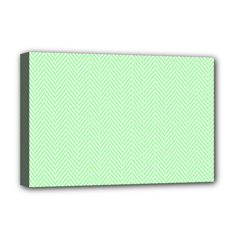 Classic Mint Green & White Herringbone Pattern Deluxe Canvas 18  X 12