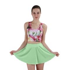 Classic Mint Green & White Herringbone Pattern Mini Skirt