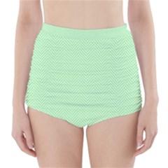 Classic Mint Green & White Herringbone Pattern High Waisted Bikini Bottoms