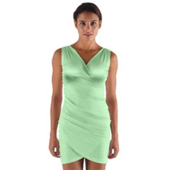 Classic Mint Green & White Herringbone Pattern Wrap Front Bodycon Dress
