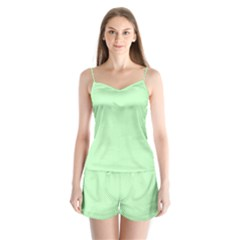 Classic Mint Green & White Herringbone Pattern Satin Pajamas Set