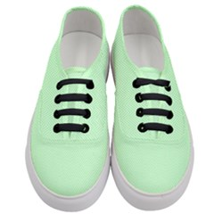 Classic Mint Green & White Herringbone Pattern Women s Classic Low Top Sneakers