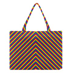 Gay Pride Flag Rainbow Chevron Stripe Medium Tote Bag
