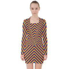 Gay Pride Flag Rainbow Chevron Stripe V Neck Bodycon Long Sleeve Dress
