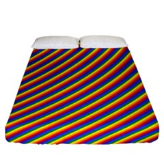 Gay Pride Flag Candy Cane Diagonal Stripe Fitted Sheet (california King Size)
