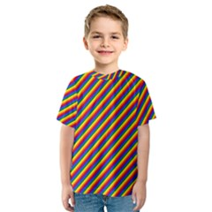 Gay Pride Flag Candy Cane Diagonal Stripe Kids  Sport Mesh Tee