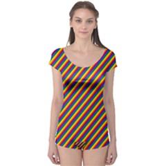 Gay Pride Flag Candy Cane Diagonal Stripe Boyleg Leotard