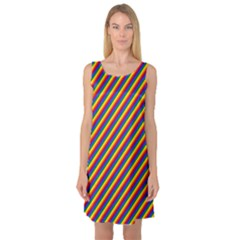 Gay Pride Flag Candy Cane Diagonal Stripe Sleeveless Satin Nightdress