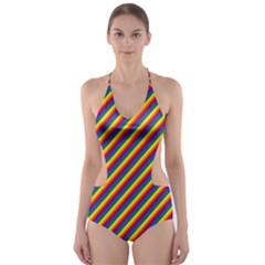 Gay Pride Flag Candy Cane Diagonal Stripe Cut Out One Piece Swimsuit