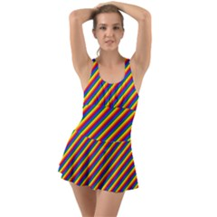 Gay Pride Flag Candy Cane Diagonal Stripe Swimsuit