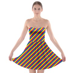 Gay Pride Flag Candy Cane Diagonal Stripe Strapless Bra Top Dress