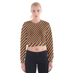 Gay Pride Flag Candy Cane Diagonal Stripe Cropped Sweatshirt