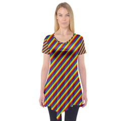 Gay Pride Flag Candy Cane Diagonal Stripe Short Sleeve Tunic