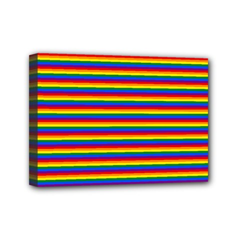 Horizontal Gay Pride Rainbow Flag Pin Stripes Mini Canvas 7  X 5
