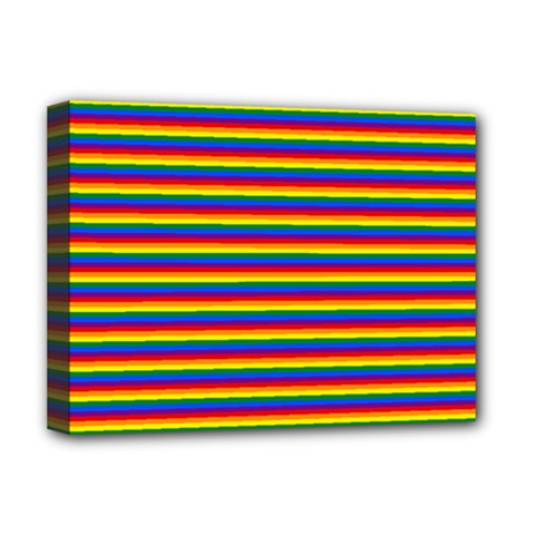 Horizontal Gay Pride Rainbow Flag Pin Stripes Deluxe Canvas 16  X 12