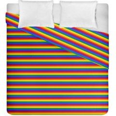 Horizontal Gay Pride Rainbow Flag Pin Stripes Duvet Cover Double Side (king Size)