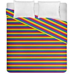 Horizontal Gay Pride Rainbow Flag Pin Stripes Duvet Cover Double Side (california King Size)